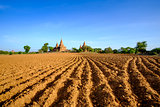 Landscape view of ancient temples and field, Bagan, Myanmar