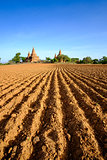 Landscape view of field and temples in Bagan area, Myanmar