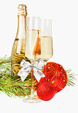 Champagne with two glasses and new year composition