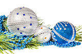 Christmas tree branch and blue with white glitter balls