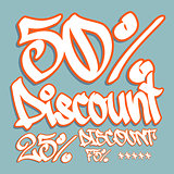 Fifty percent discount tag in graffiti style.