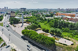 Historical center on coast Tura river. Tyumen