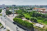 Historical center on coast Tura river. Tyumen