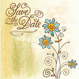 "Watercolor floral  card  with message ""Save the Date"""