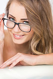 Smiling Beautiful Woman Wearing Glasses