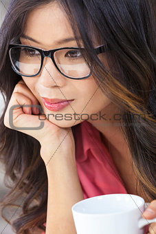 Asian Chinese Woman Girl in Glasses Drinking Coffee