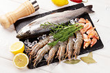 Fresh raw sea food with spices