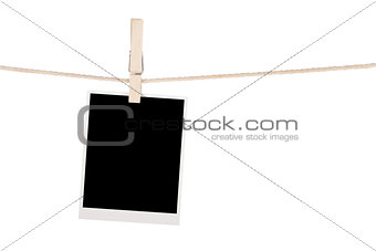 Blank photo hanging on clothesline