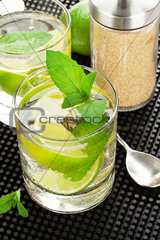 Mojito cocktail and ingredients