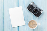 Blank photo frame, camera and coffee cup