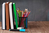 School and office supplies on table