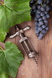 Red grape and vintage corkscrew