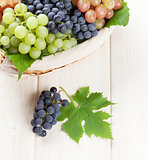 Bunch of red, purple and white grapes