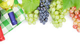 Bunch of red, purple and white grapes and wine bottles