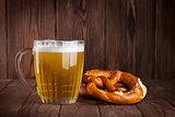 Lager beer glass and pretzel