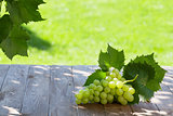 White grapes on garden table