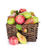 Pears and apples in basket