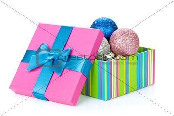 Christmas colorful decor in gift box