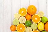 Citrus fruits. Oranges, limes and lemons