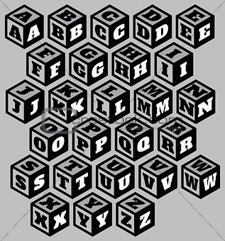 three-dimensional retro alphabet on three surfaces of cube