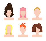 Vector people faces Icons set. Hairstyle
