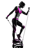 woman fitness stepper exercises silhouette