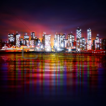 abstract background with panorama of vancouver