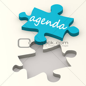 Agenda word on blue puzzle
