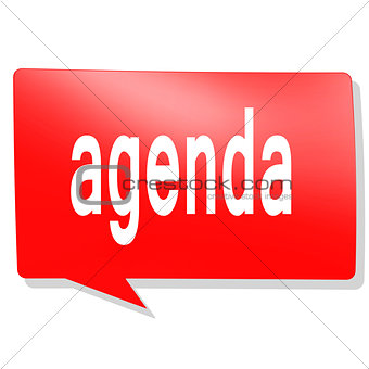 Agenda word on red speech bubble