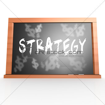 Bllack board with strategy word