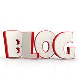 Blog word with white background