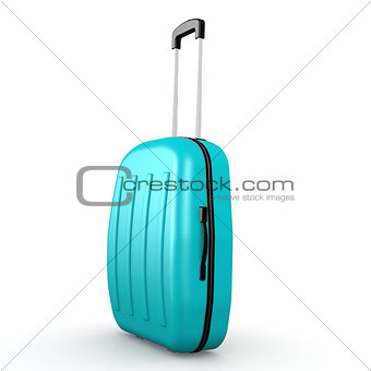 Blue luggage with white background