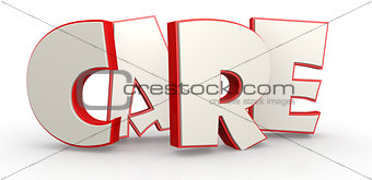Care word with white background