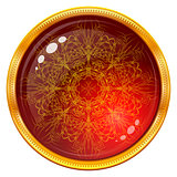 Golden button with patterned red gem
