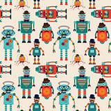 Seamless Pattern Background with Cute Hipster Robots
