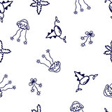 Seamless pattern with abstract sea animals .  Hand drawn illustration can be copied without any seams. Nature ornament