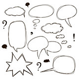 Set of sketch style speech bubbles