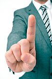 businessman holding up his index finger
