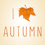 text I love autumn with a dry leaf instead of a heart