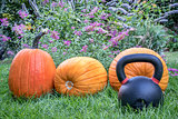 kettlebell and pumpkins