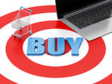 3d Laptop pc Shopping cart on target. E-commerce concept