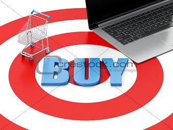 3d Laptop pc Shopping cart on target. E-commerce concept