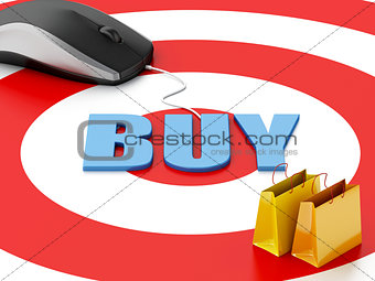 3d computer mouse and shopping bags. E-commerce concept