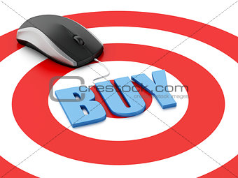 3d mouse on target. E-commerce concept