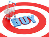 3d Shopping cart on target. E-commerce concept