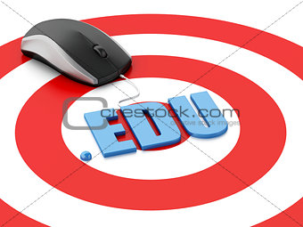 3d computer mouse and word EDU on target