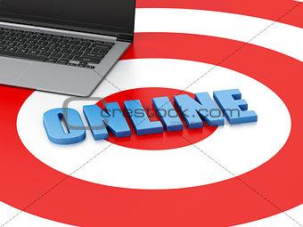 3d Laptop pc on target. E-commerce concept