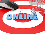 3d computer mouse and Shopping cart on target. E-commerce concep