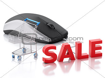 3d computer mouse and shopping cart. E-commerce