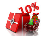 3d box with 10 percent text. Christmas sale concept.